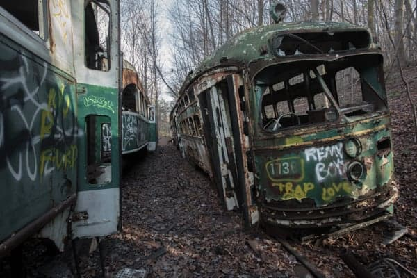 Where in Pennsylvania is the Abandoned Trolley Graveyard?