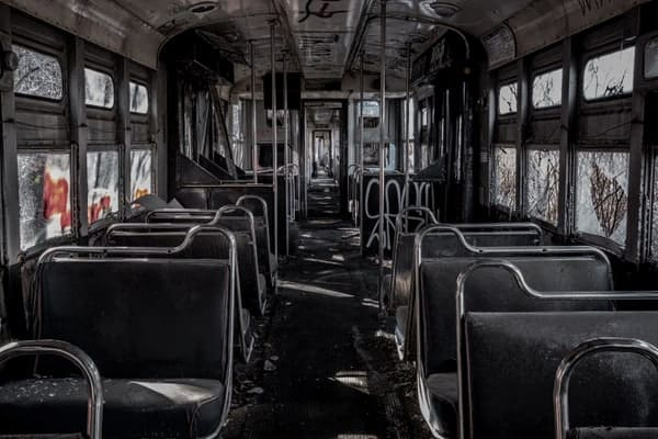 Inside an abandoned trolley at the Vintage Electric Streetcar Company in PA