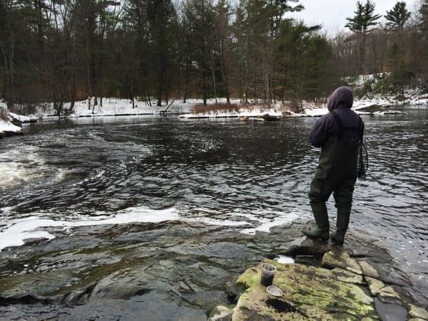 Fishing at Tobyhanna Falls in Monroe County, Pennsylvania
