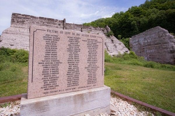 Memorial at Austin Dam in Potter County, Pennsylvania