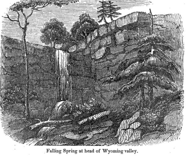 """Falling Springs Falls as seen in an illustration from the 1943 book """"A Geography of Pennsylvania"""" by Charles Trego."""