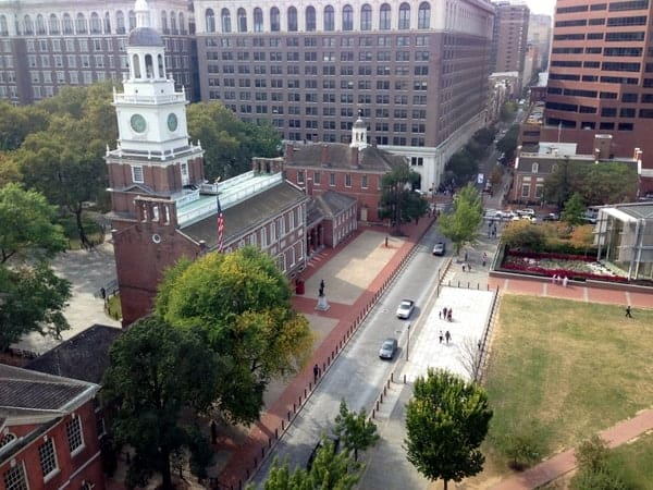 View of Independence Hall from Hotel Monaco in Philadelphia