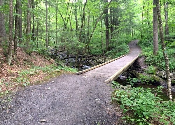 Hiking Hornbecks Creek in the Poconos of Pennsylvania.