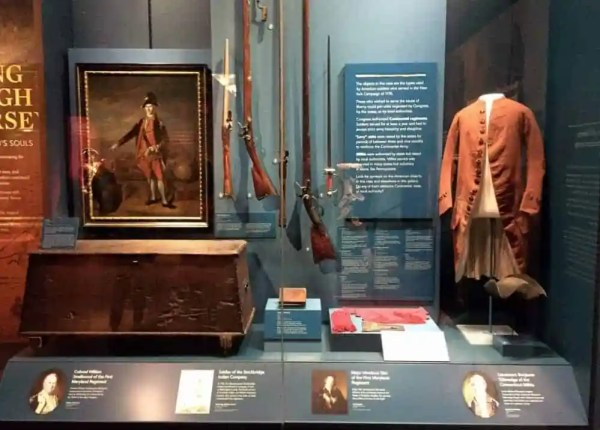 Artifacts on display at the Museum of the American Revolution in Philadelphia, Pennsylvania