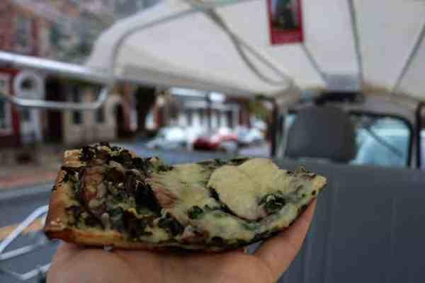The Fridge kale and mushroom pizza
