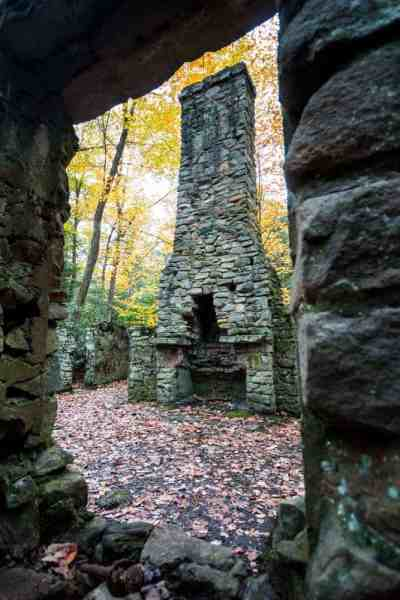 Stone ruins seen while hiking the Flat Rock Trail in Linn Run State Park.
