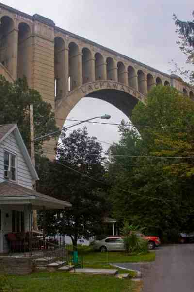 The Tunkhannock Viaduct passes over a home in Nicholson, PA