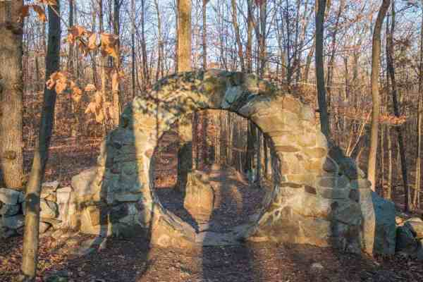 Celtic eye at Columcille Megalith Park that was seen while hiking
