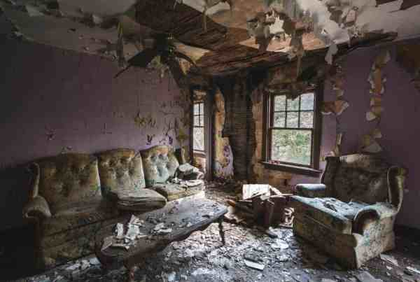 An old living room in Yellow Dog Village in Armstrong County, PA