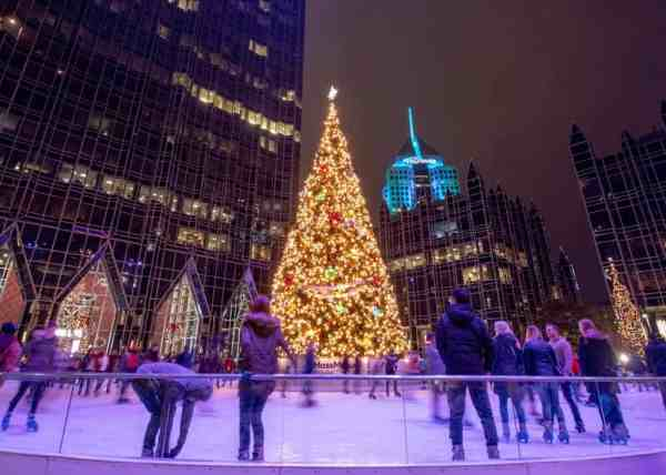 Ice Skating in PPG Place at Christmas in Pittsburgh on Light Up Night