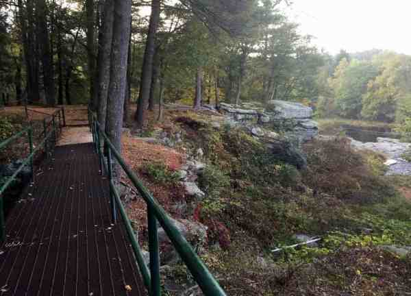 Viewing area for Resica Falls in the Poconos