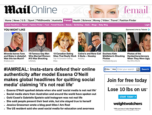 Uncover Ostomy Daily Mail Jessica Grossman Essena ONeill 11 5 2015