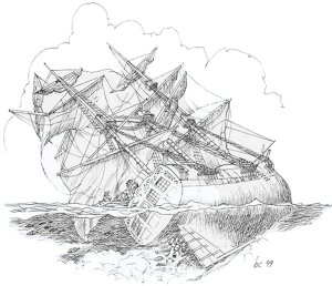 Queen Anne's Revenge aground in Beaufort Inlet, Bernie Case, illustrator 1999