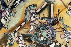 Detail of the eagle warrior from the digital reproduction of the Lienzo de Quauhquechollan