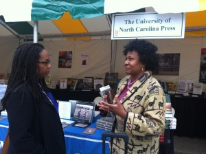 Heather Andrea Williams with visitor, Southern Festival of Books 2012