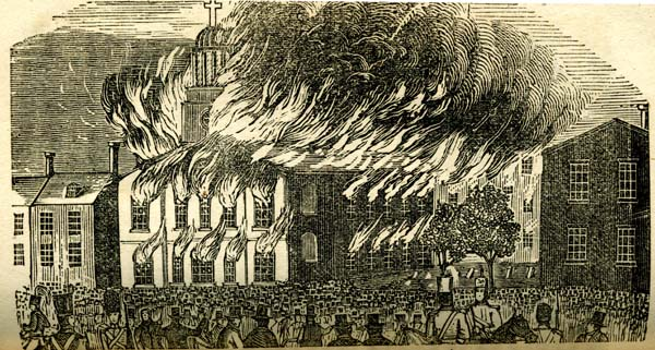 St. Augustine's Catholic Church, Philadelphia, set on fire by anti-Catholic nativists in riot May 8, 1844