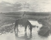 Erwin E. Smith, Frank Smith, Watering His Horse, Cross-B Ranch, Crosby County, Texas, c. 1909, gelatin dry plate negative, Dallas Museum of Art, Dallas Art Association Purchase © Erwin E. Smith Foundation