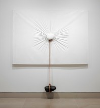 """Nobuo Sekine, """"Phase of Nothingness--Cloth and Stone,"""" 1970/1994, cloth, stone, rope, and panel, The Rachofsky Collection and the Dallas Museum of Art through the DMA/amfAR Benefit Auction Fund"""