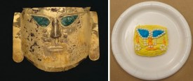 Ceremonial mask, Peru, north coast, Sicán culture, 900-1100 C.E., gold, copper, and paint, Dallas Museum of Art, The Eugene and Margaret McDermott Art Fund, Inc, 1969.1.McD