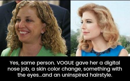 Wasserman Schultz's hair gets photoshopped by Vogue magazine Uncurly.com