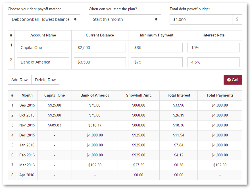 debt snowball calculator excel free
