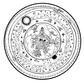 Notice the Ouroboros on the outside of the circle, consuming itself in order to sustain itself – a fundamental pattern of the life phenomenon in the universe, illustration courtesy Chris Dorchak
