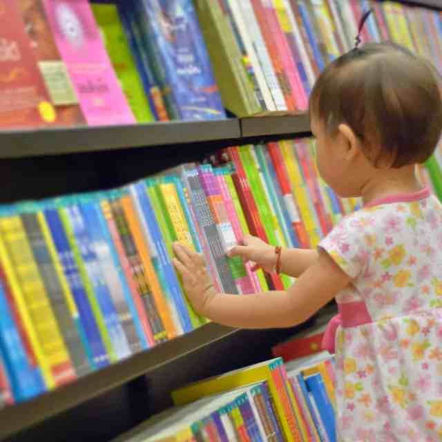 Baby in a library