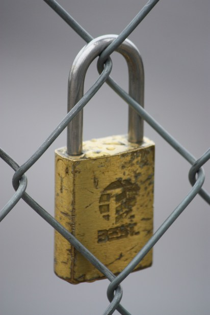 Not a stunning lock, but I liked the lines it formed hanging on the chain link fence