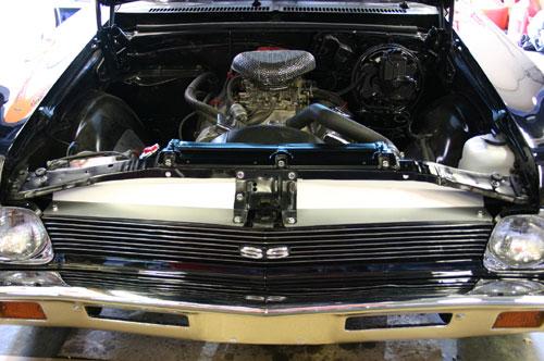 68-72 Nova Radiator Show Filler Panel Black Anodized Bowtie /& Chevrolet