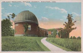 Vintage postcard with Van Vleck Observatory