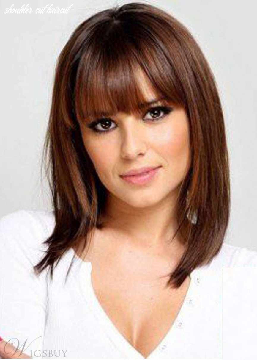 Shoulder Length Natural Straight Haircut With Bangs Synthetic Hair Lace  Front Wigs 9 Inches