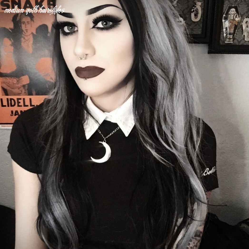 Silver And Black Hair   Gothic hairstyles, Metal girl, Goth women