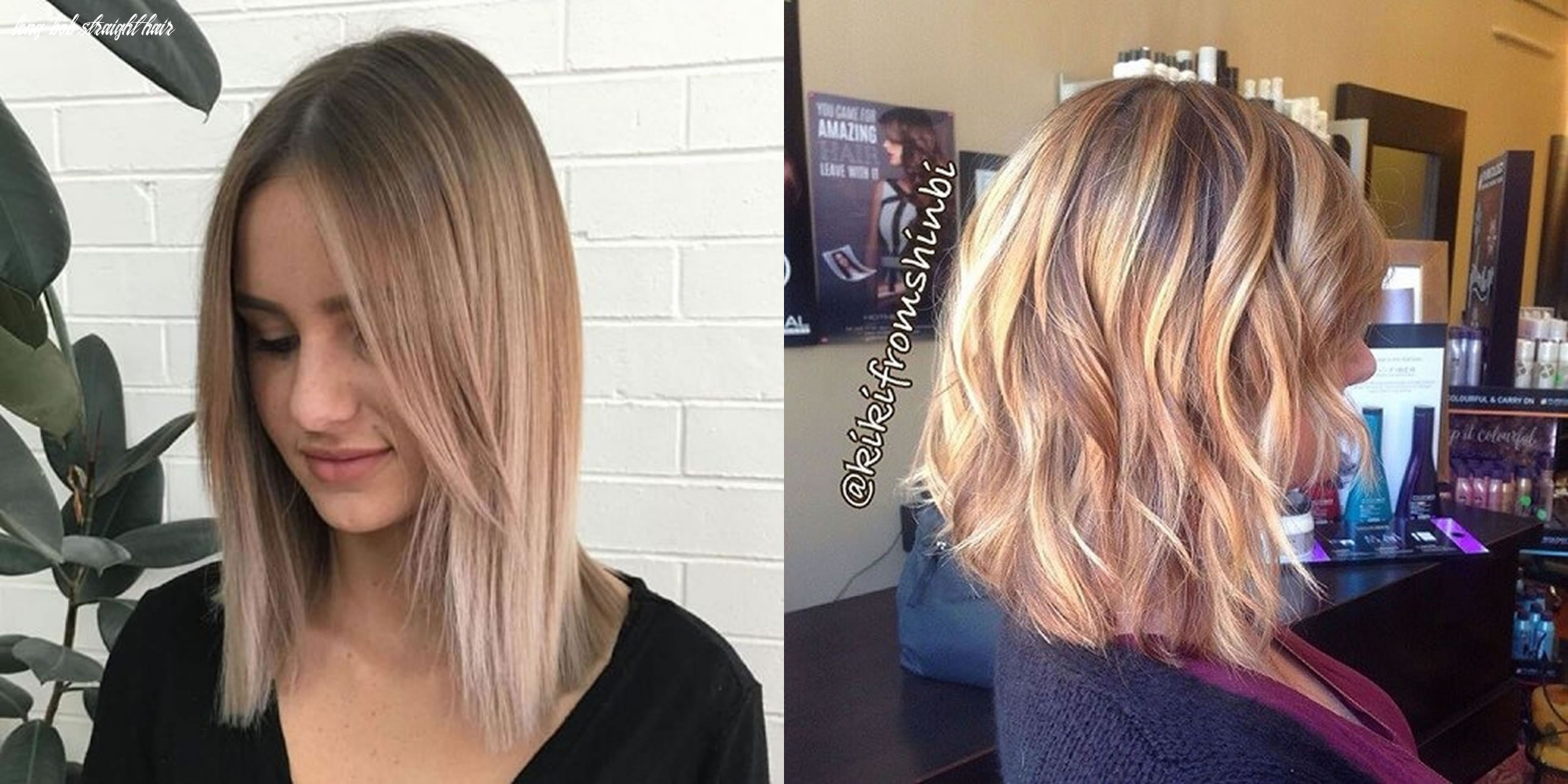 Straight hair style center parted long bob hairstyle - Hair Colors
