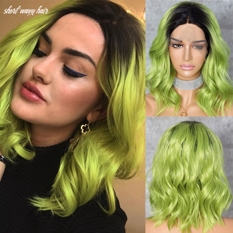 US $12.12 121% OFF|Lvcheryl Hand Tied Dark Roots To Mxied Apple Green Short  Wavy Hair Heat Resistant Synthetic Lace Front Wigs For Women|Synthetic ...
