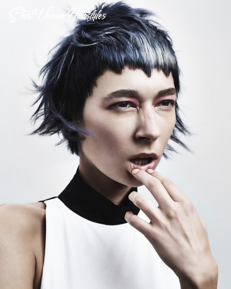 """Messy uneven short layered haircut with """"randomly"""" shredded bangs ..."""