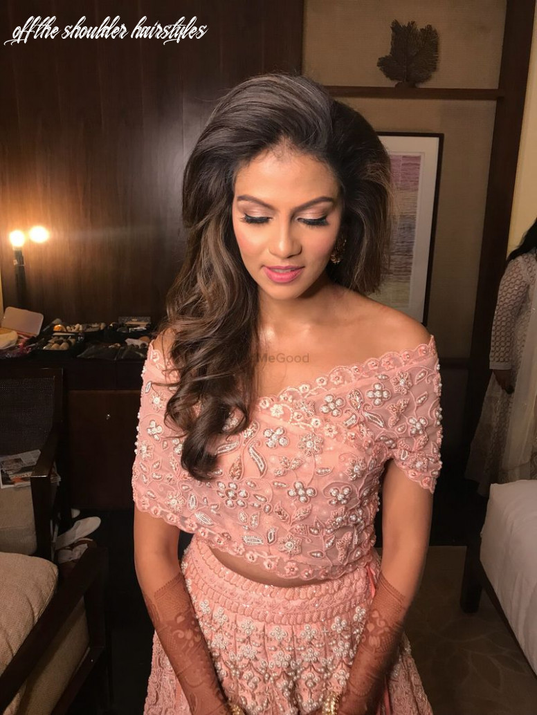Photo of Peach lehenga with off shoulder blouse and one sided ...