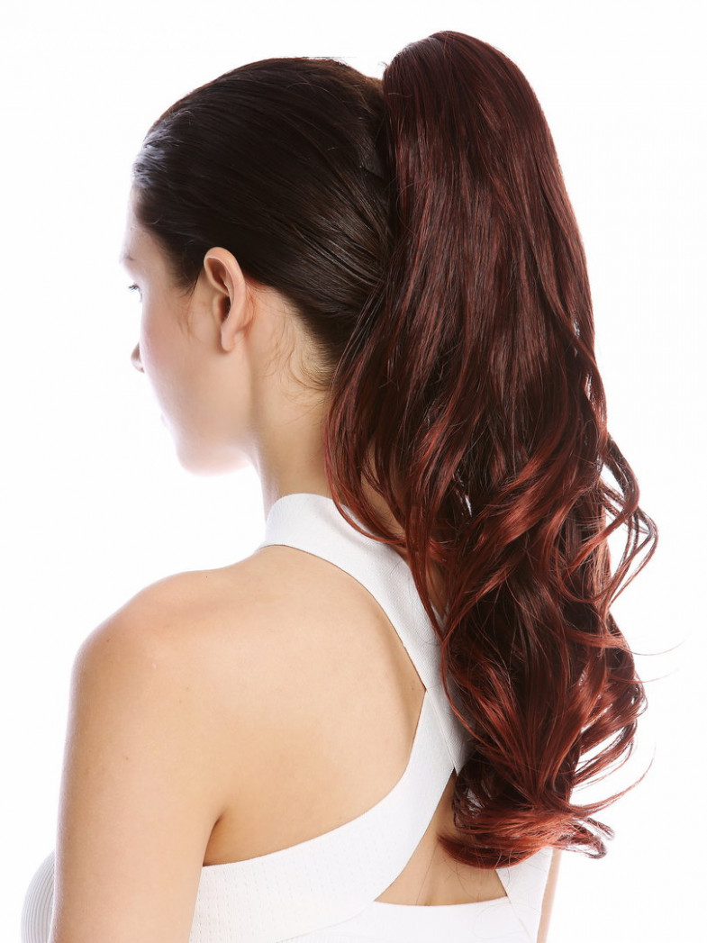 """Ponytail Hairpiece optional Combs & Clamp long wavy curled black streaked  red highlights 12"""""""