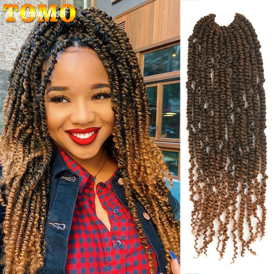 """TOMO Fluffy Passion Twist Crochet Hair for Women 10"""" Crochet Braids Spring  Twist 10Roots Synthetic Braiding Hair Extensions"""
