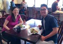 Grabbing lunch with my Principal Investigator, Professor Irene Chen (Department of Chemistry and Biochemistry)