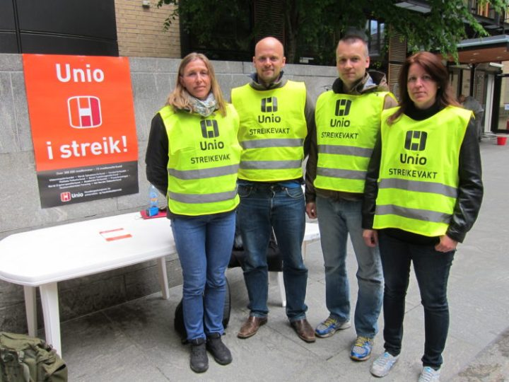 Union workers on strike in Oslo, Norway