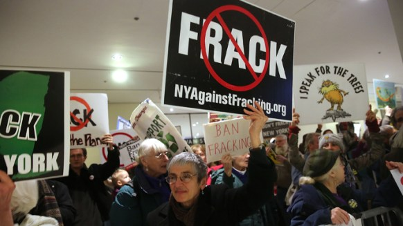 Protesters against fracking in New York, where the practice is now banned state wide. Source: AFP Photo/ Spencer Platt