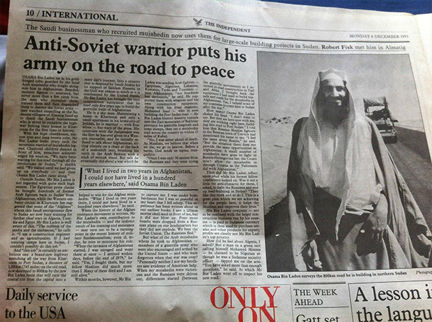 """Osama Bin Laden picture on the UK newspaper The Independent in 1993, under the headline """"Anti-Soviet warrior puts his army on the road for peace. Source: Salon"""