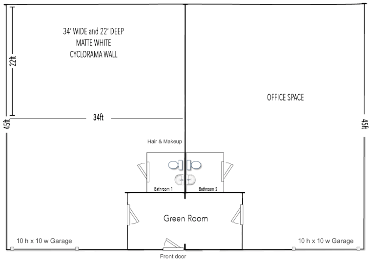 1,500 Square Ft. Studio & 1,500 Sq. Ft. Workspace