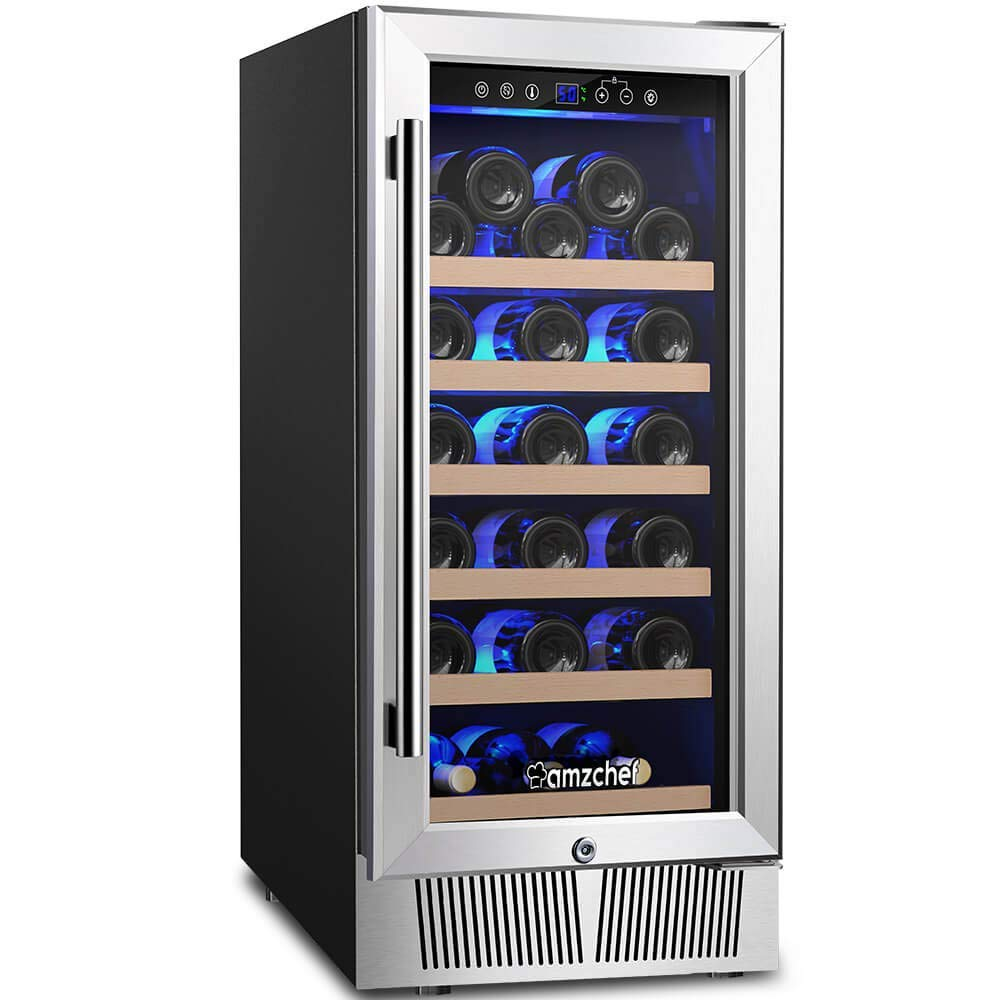 "AMZCHEF 15"" Wine Refrigerator 31 Bottle Built in or Freestanding Wine Cooler, Quiet, Constant Temperature & Energy Efficient"