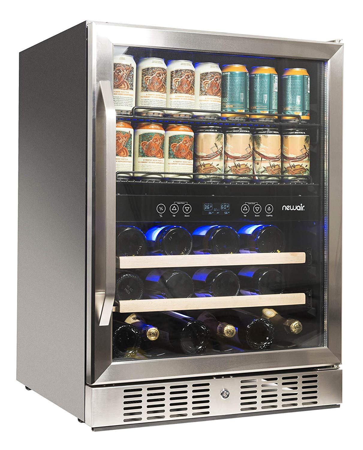 NewAir AWB-400DB Dual Zone Beverage Cooler, Built-in Stainless Steel Refrigerator for Soda Beer or Wine, Holds 22 Bottles and 70 Cans