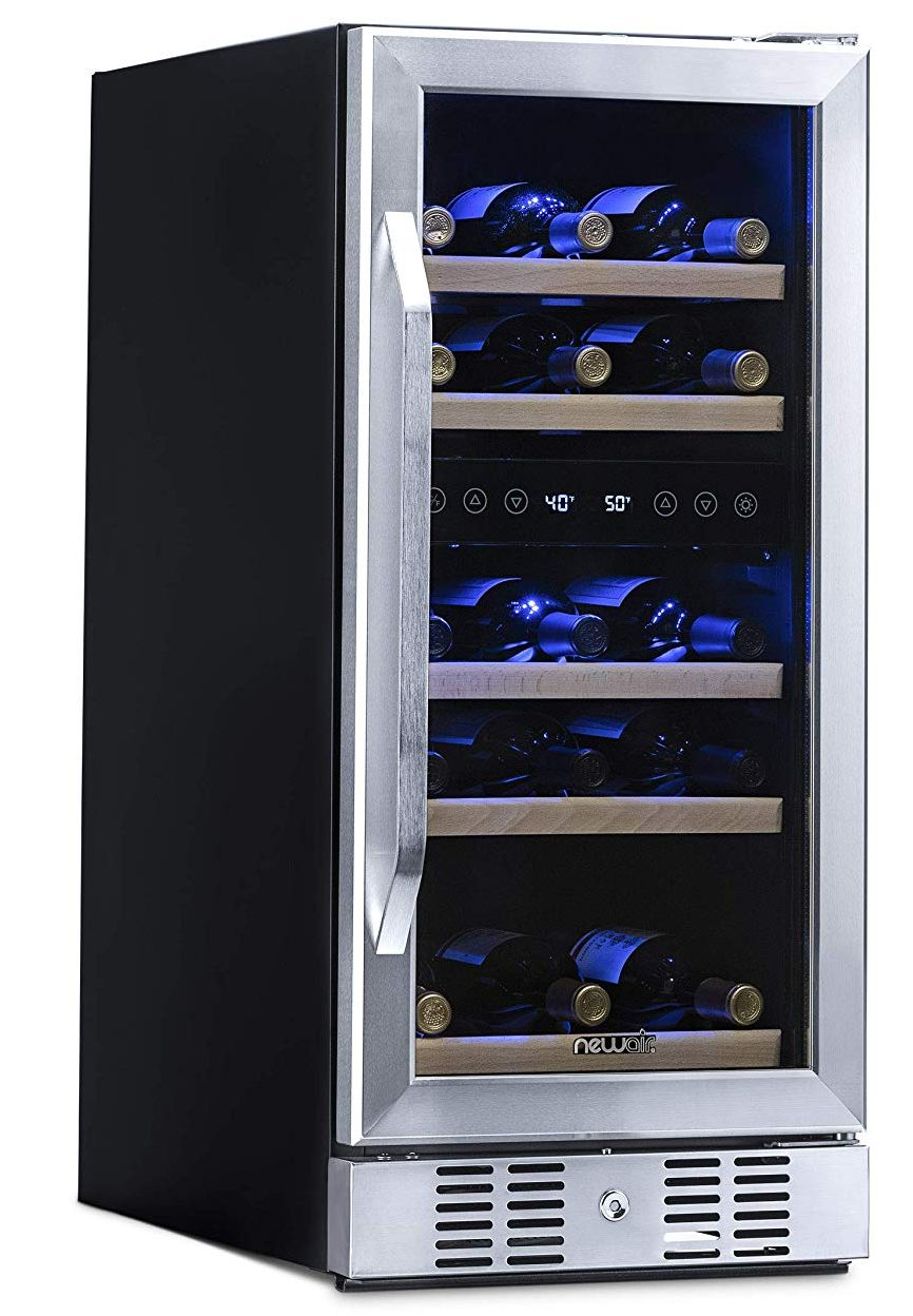 NewAir Dual Zone Built-In Wine Cooler and Refrigerator, 29 Bottle Capacity Fridge with Triple-Layer Tempered Glass Door, AWR-290DB