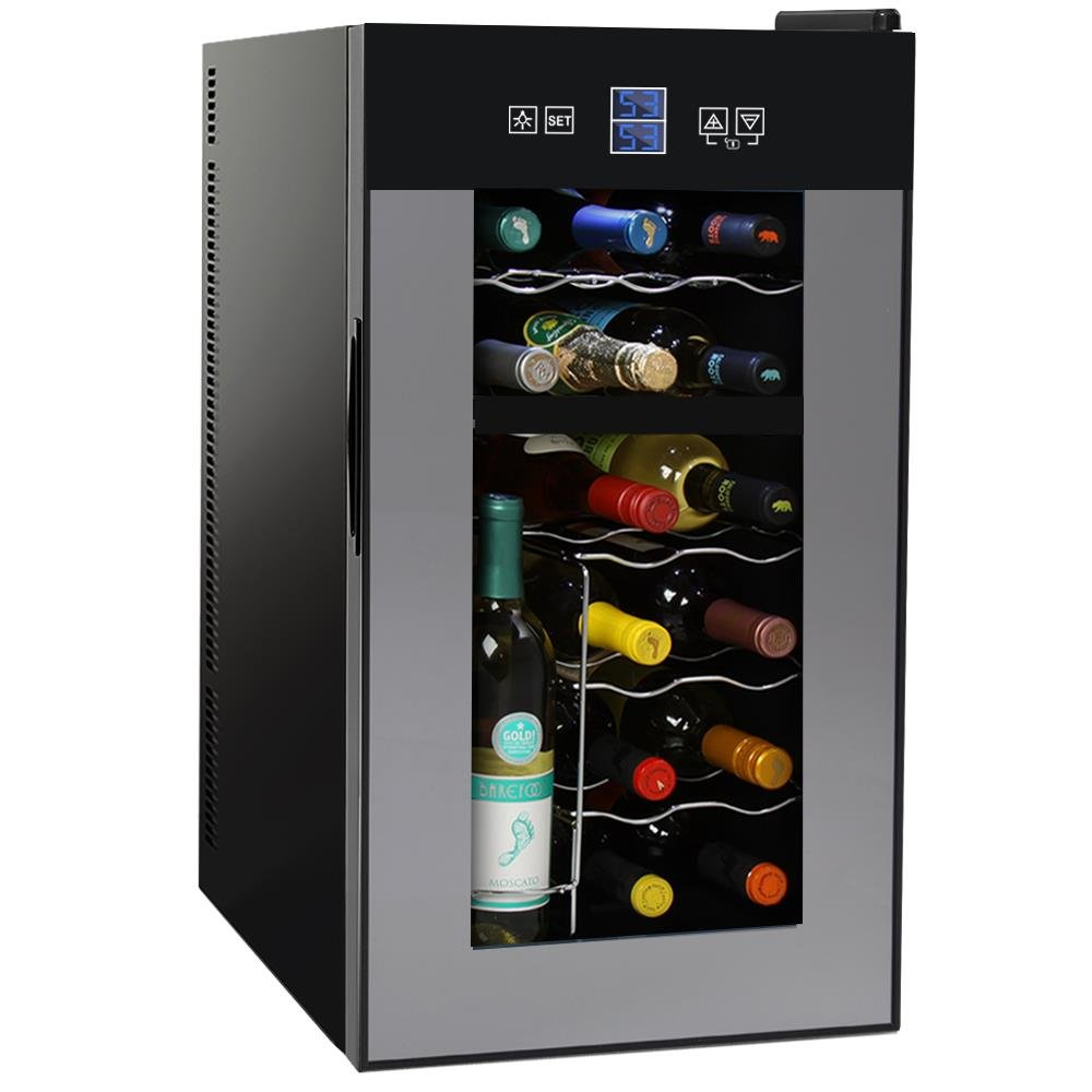 NutriChef PKTEWCDS1802 18 Bottle Dual Zone Thermoelectric Wine Cooler