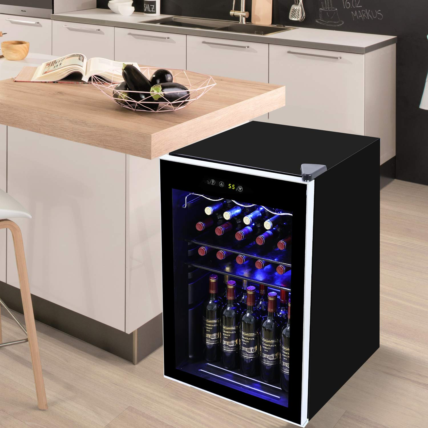 Tavata Wine Cooler- Freestanding Single Zone Fridge and Cellar Chiller, Quiet Wine Refrigerator with UV Protection Glass Door,Compressor Refrigeration for Counter Top  (37 Bottles)