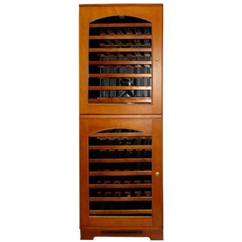 Vinotemp Vt-bordeaux2h 84 Bottle Dual Zone Wine Cooler Tower With Right Hinge - Glass Doors / Wood Cabinet