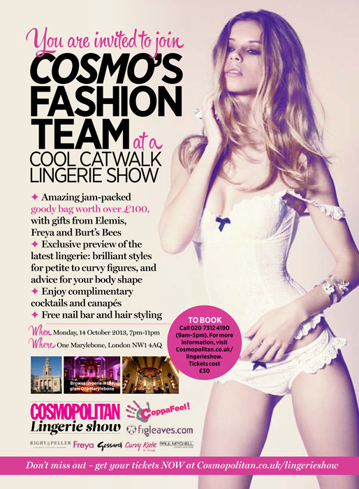 efc678f567a Cosmopolitan's first ever lingerie fashion show to be hosted this October -  Underlines Magazine